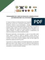 Pronunciamiento del Cuerpo de Oficiales de la Reserva Activa de las Fuerzas Militares y de la Policía Nacional