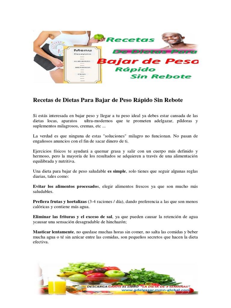 Recetas de Dietas Para Bajar de Peso Rápido Sin Rebote..