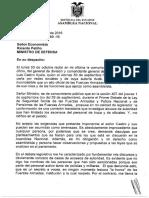 Respuesta oficial al comandante general de la Fuerza Terrestre