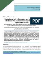 Anti-Inflammatory and Antinociceptive