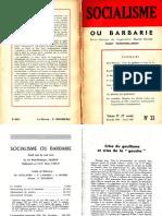 Socialisme ou barbarie 33 décembre 1961-février 1962