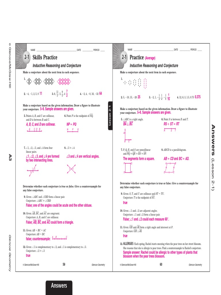 worksheet Glencoe Geometry Worksheet Answers chapter 2 skills practice answers conjecture angle