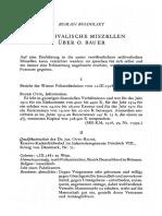 Archivalische Miszellen Über O. Bauer