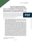 In Vitro Evaluation of Decontamination Efficacy
