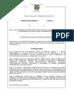 Proyecto de Resolución Requisitos Físicos, Químicos y Microbiológicos de Bebidas Alcohólicas