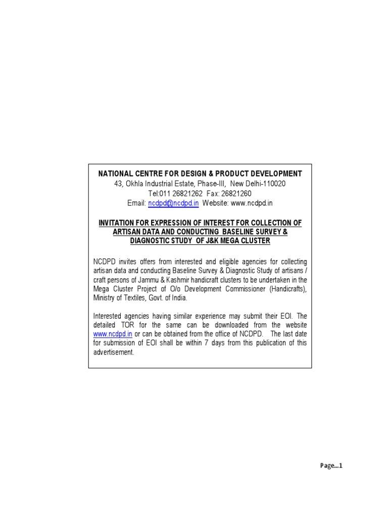 J K Baseline Survey Eoi Crafts Entrepreneurship