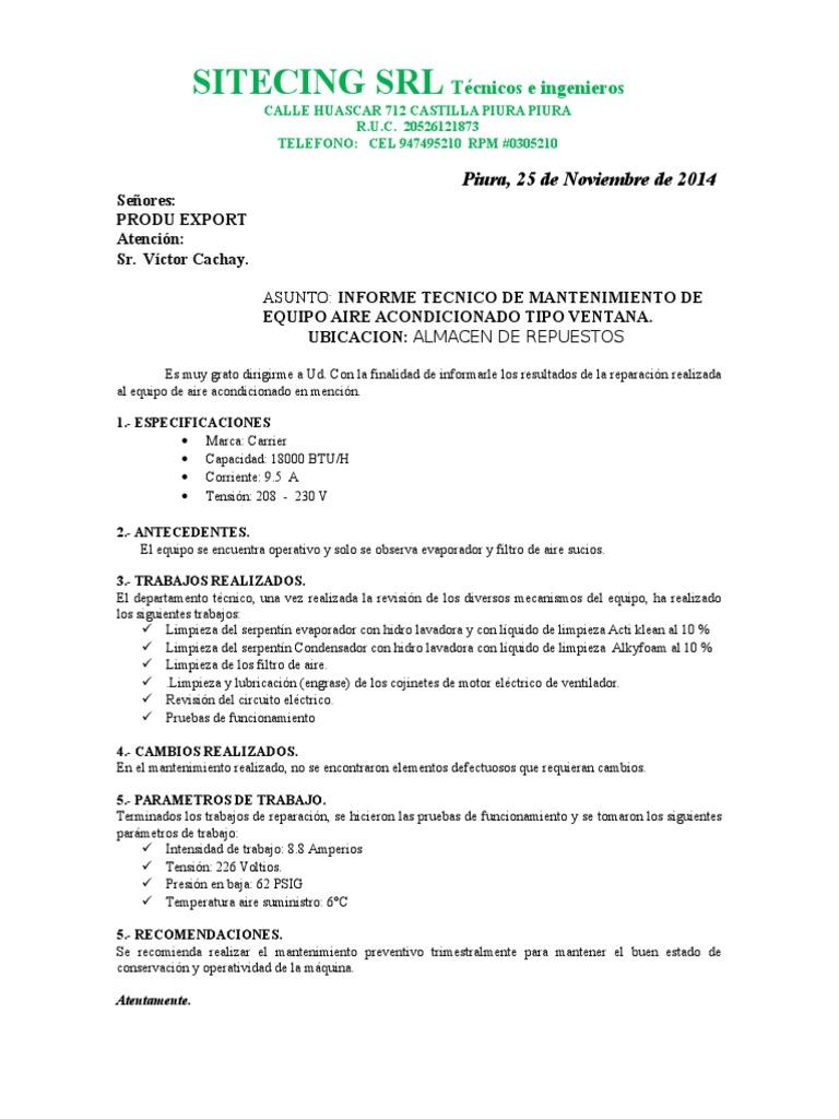 Modelos de Informes de Mmto y Reparación de Equipos de Aire ...