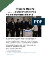 04.10.16 Propone Moreno Valle Endurecer Sanciones vs Los Bromistas Del 911