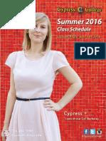 2016 Cypress College Summer Schedule