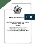 Perda Nomor 13 Tahun 2008 Tentang Rencana Pembangunan Jangka Menengah Daerah (RPJPD) Kabupaten Gianyar Tahun