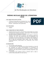 Edital Póslit Prêmio Literário Nicolas Behr 2016