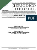 Ley Ingresos Zacatecas Ejercicio 2015