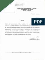Admission Notice MBA 2016