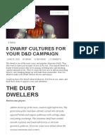 Dwarf Cultures for Your D&D Campaign