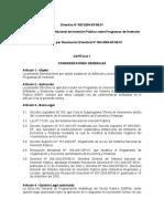 Directiva del Sistema Nacional de Inversión Pública sobre Programas de Inversión