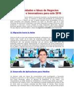 Oportunidades e Ideas de Negocios Rentables e Innovadores Para Este 2016