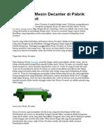 Cara Kerja Mesin Decanter Di Pabrik Kelapa Sawit