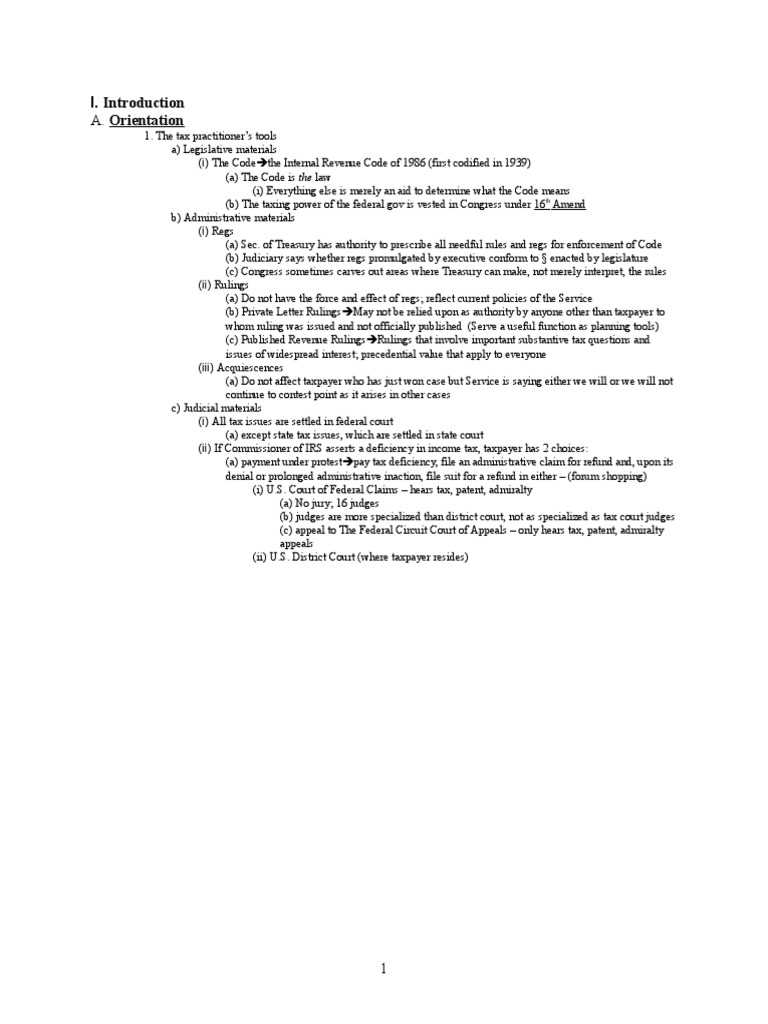 tax outline View test prep - tax outline from law 647a at arizona corporate tax outline 1) background a) 3 themes: i) rates (1) graduated lower rates for sm corps beyond 75k paying 35.