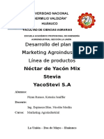 Plan de Marketin de Nectar de Yacon Mix Stevia