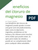 20 Beneficios Del Cloruro de Magnesio