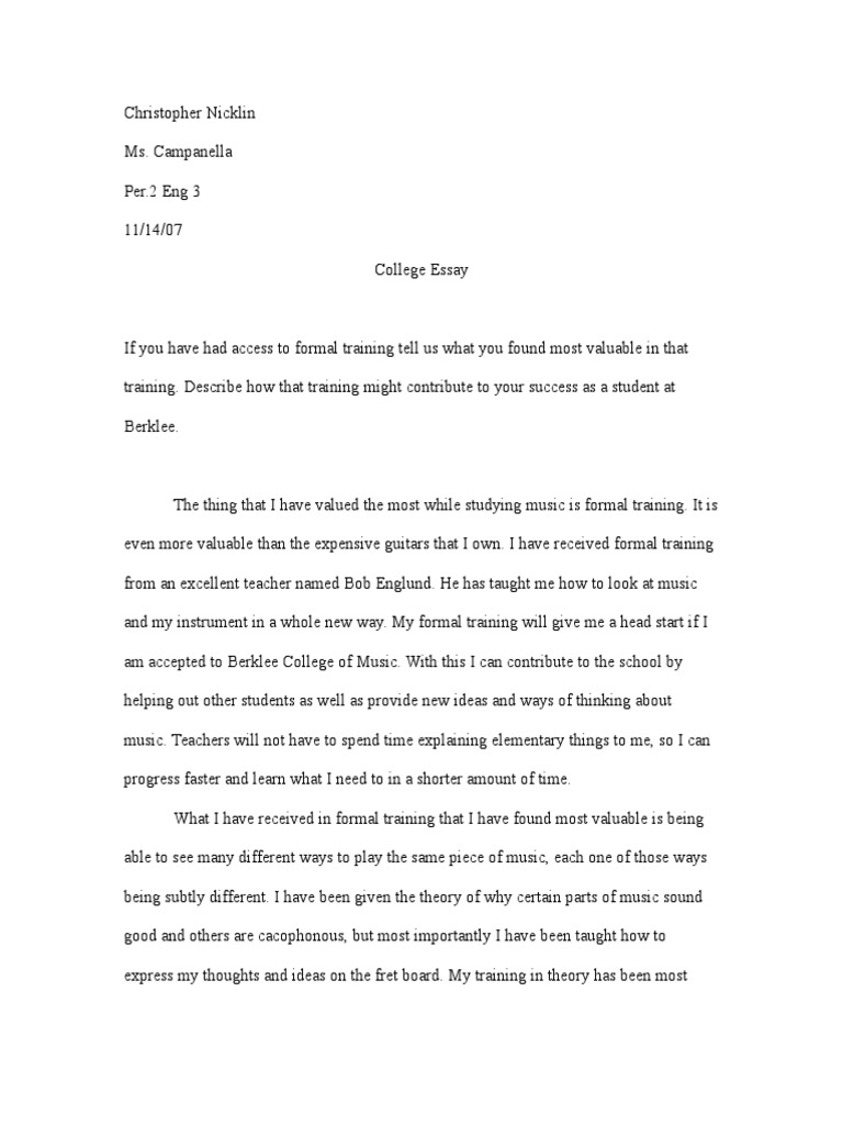 Essay For High School Application  High School Reflective Essay Examples also Compare And Contrast Essay High School And College Berklee Essay  Cognitive Science  Psychology  Cognitive  Examples Of A Thesis Statement For An Essay