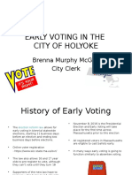 Early voting presentation by Holyoke City Clerk Brenna Murphy McGee:
