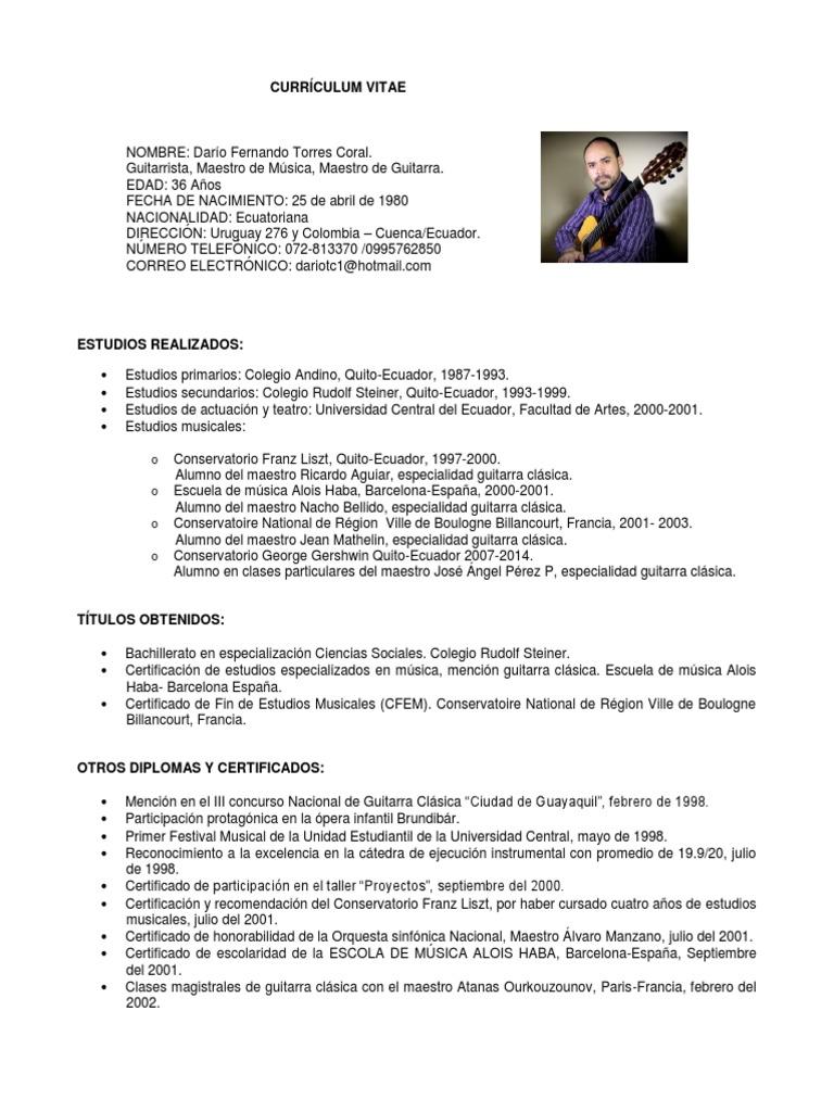 Atractivo Nombre De Actuación Del Curriculum Vitae Galería - Ejemplo ...