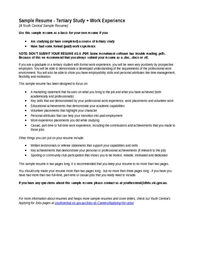 youthcentral resume tertiary work exp résumé volunteering