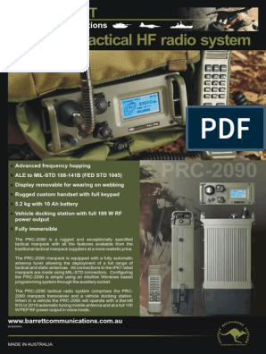HF Barrett PRC-2090 Brochure | Short Message Service | High