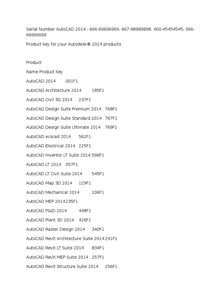 serial number para autocad civil 3d 2014