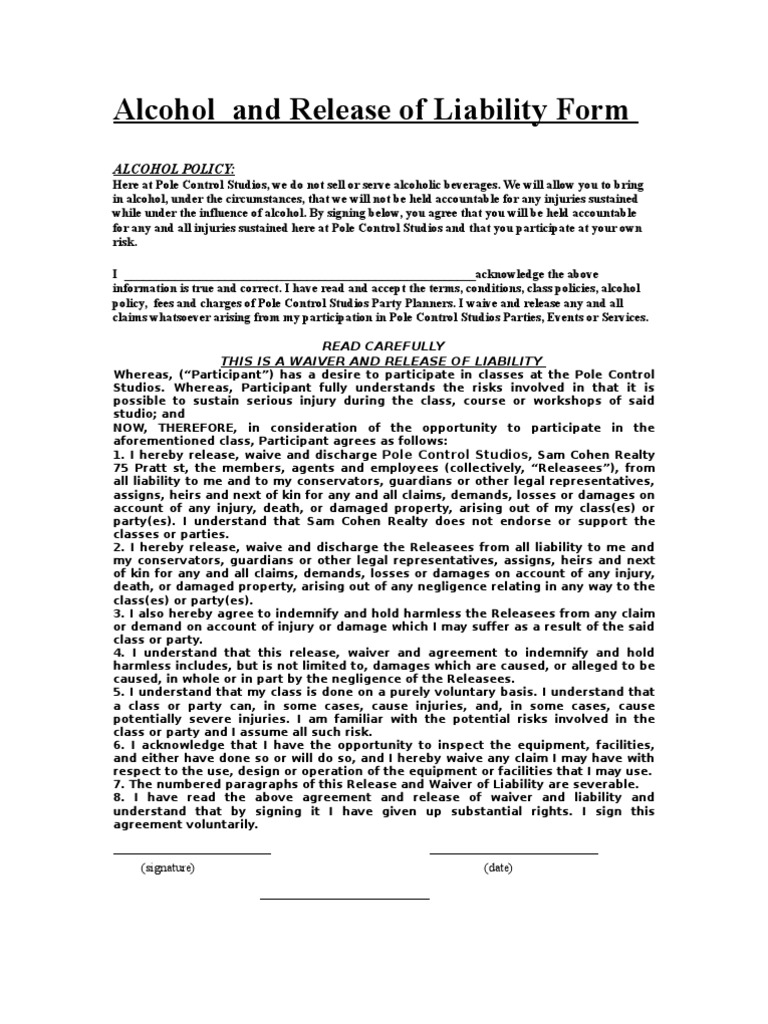 Alcohol and Release of Liability Form Indemnity – Release of Liability Sample