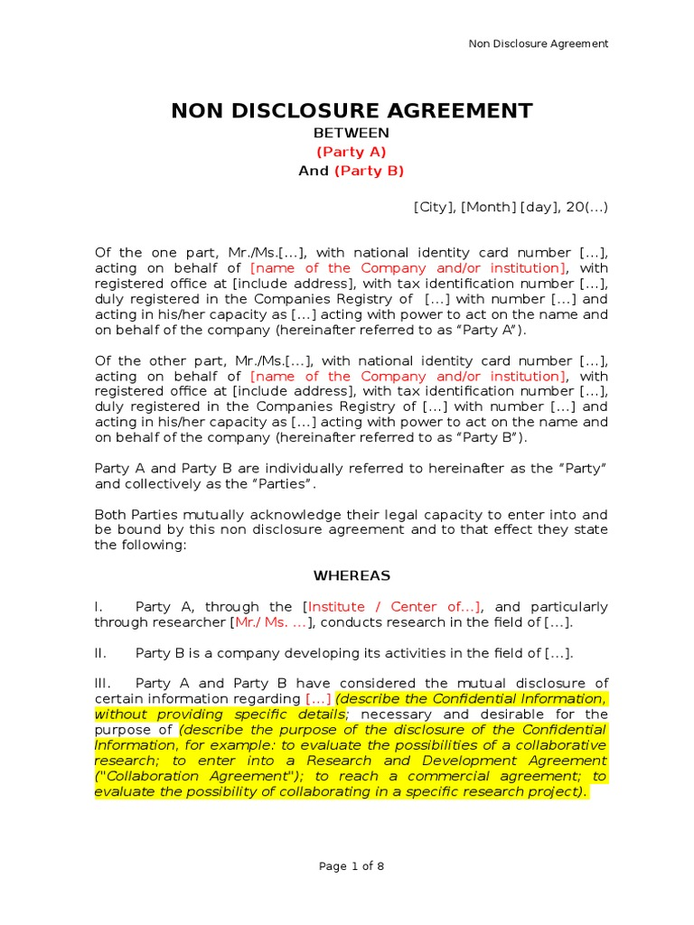electronic non disclosure agreement