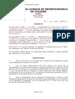 Contrato de Licencia de Patente/Modelo de Utilidad entre Ente Público y Empresa
