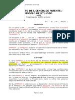 Contrato de Licencia de Patente/Modelo de Utilidad entre Empresas de ámbito Privado