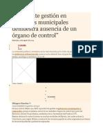 Deficiente Gestión en Gobiernos Municipales Demuestra Ausencia de Un Órgano de Control