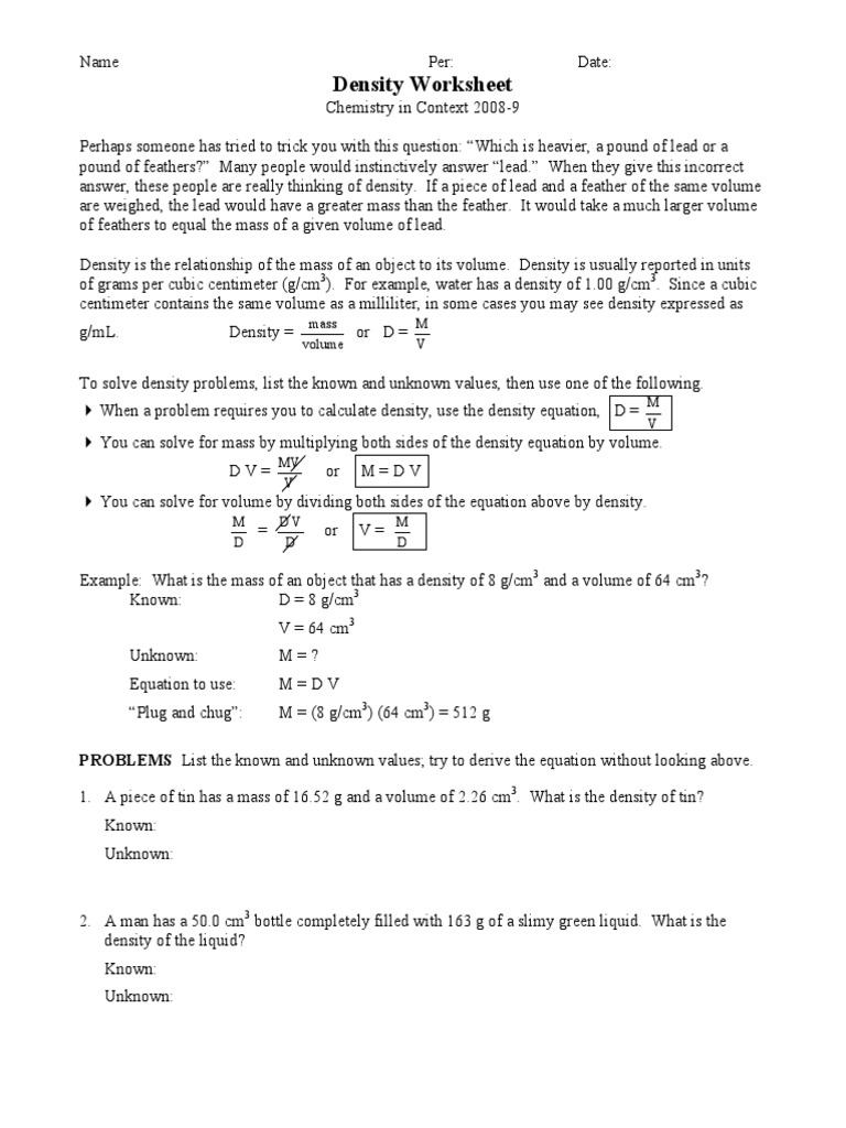 Density Worksheet Density – Density Problems Worksheet with Answers