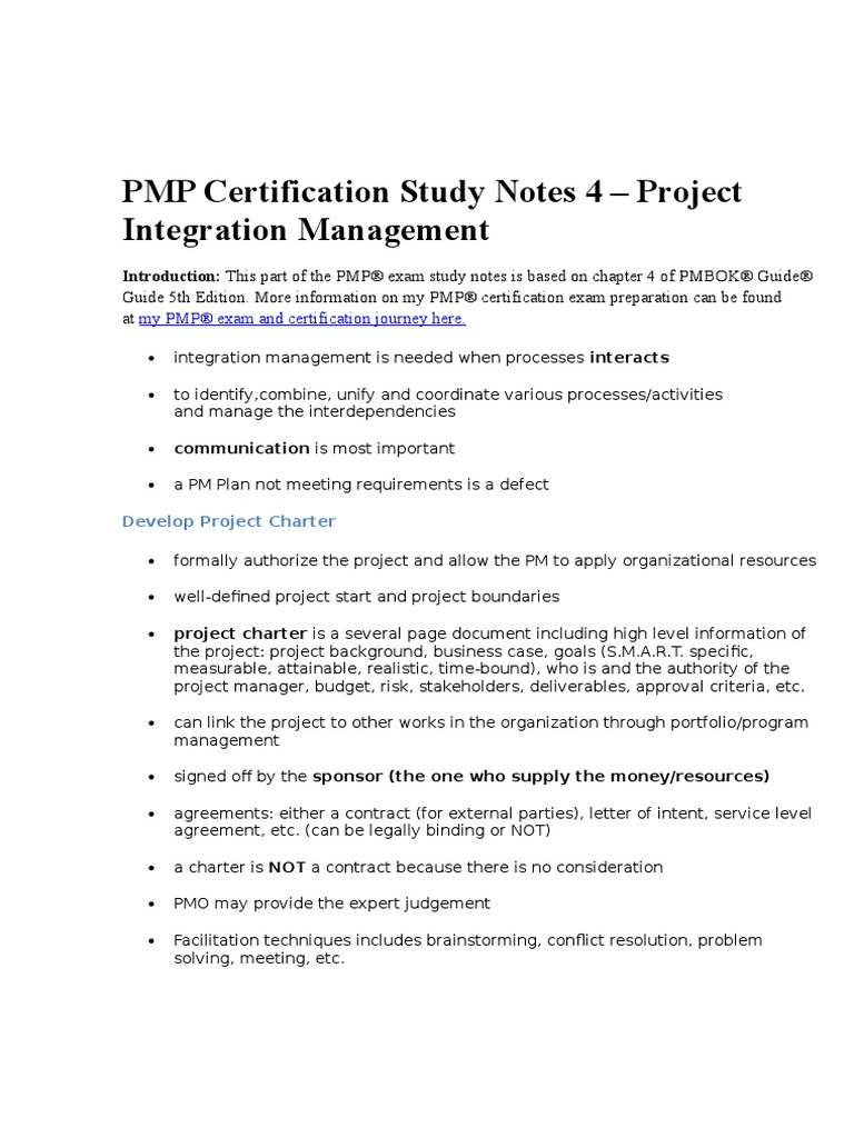 4 Pmp Certification Study Notes 4 Project Integration Management