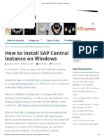 How to Install SAP Central Instance on Windows
