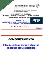 ASPECTOS CONCEPTUALES, COMPORTAMIENTO Y ANALISIS DE LA MAMPOSTERIA
