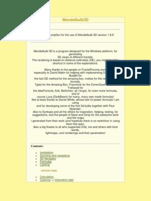 Mandelbulb3DReadme pdf | Rendering (Computer Graphics