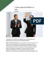 04.10.2016 Destaca Moreno Valle El Papel de La BUAP en El Progreso Del Estado