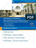 SAP Center of Excellence Maximize Return on Your SAP Investment by Creating a Business IT Partnership