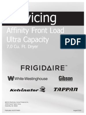 Frigidaire Affinity Dryer Service Manual | Clothes Dryer