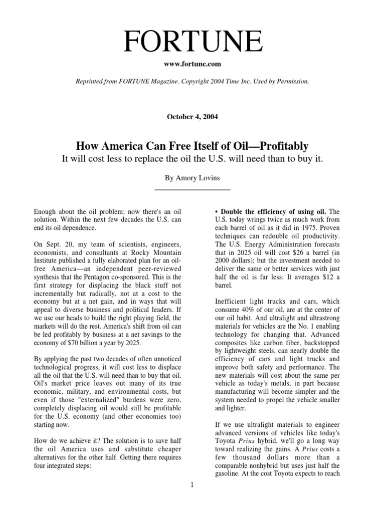 How America Can Free Itself of Oil-Profitably | Petroleum