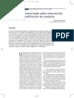 Análisis pormenorizado sobre intervención en modificación de conducta