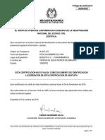 Certificado Estado Cédula ciudadana Teresa de Jesús Moros de Maduro - Registraduría Nacional del Estado Civil de Colombia