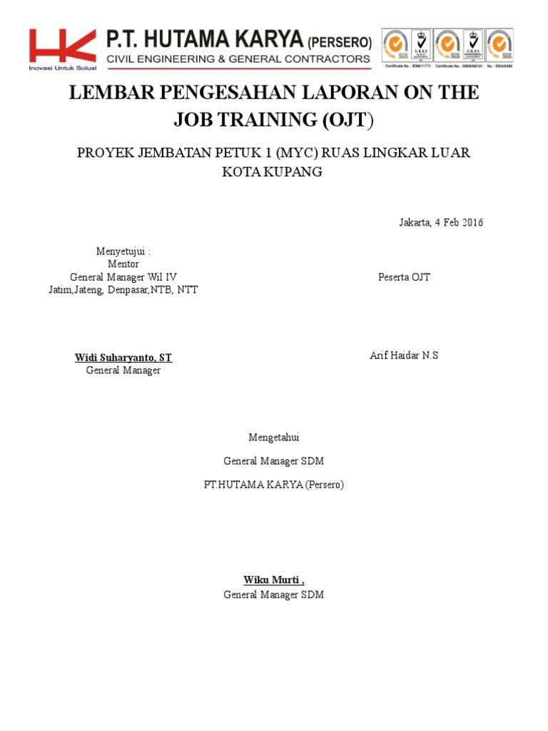 Lembar Pengesahan Laporan On The Job Training