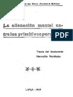 La Alienacion Mental en Los Primitivos Peruanos- Hermilio Valdizán