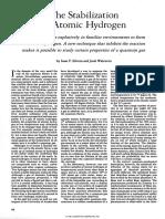 The Stabilization of Atomic Hydrogen