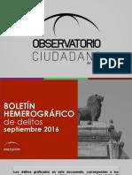 Presentación Boletín Hemerográfico Septiembre 2016